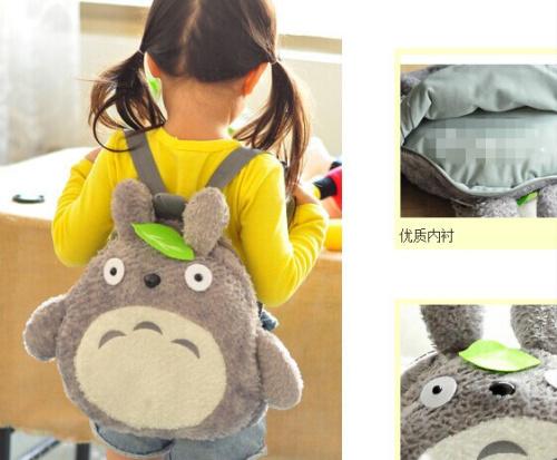 School Backpack ; [36*33CM] Fits 4-10Year Kids Kawaii Green Leaf TOTORO Plush Children Baby Kindergarten Backpack Shoulder Pack(China (Mainland))