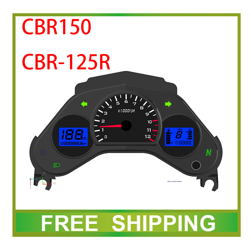 Фотография CBR150 CBR125R 125cc 150cc odomter street bike motorcycle speedometer double dual led LCD speedo meter instrument  Free Shipping