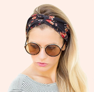 Women Bohemian Turban Twist Knot Head Wrap Floral Headband Twisted Knotted Hair Band Cotton Turban Headband 1PC(China (Mainland))