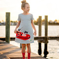 Baby Girls Summer Dress with Animal Appliques Brand Kids Dresses for Girls Clothes Striped Crew Neck