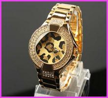 Hk moda del envío GSS marca Leopard Dial reloj de vestir de lujo Rhinistone reloj famosa marca oro rosa dorado reloj