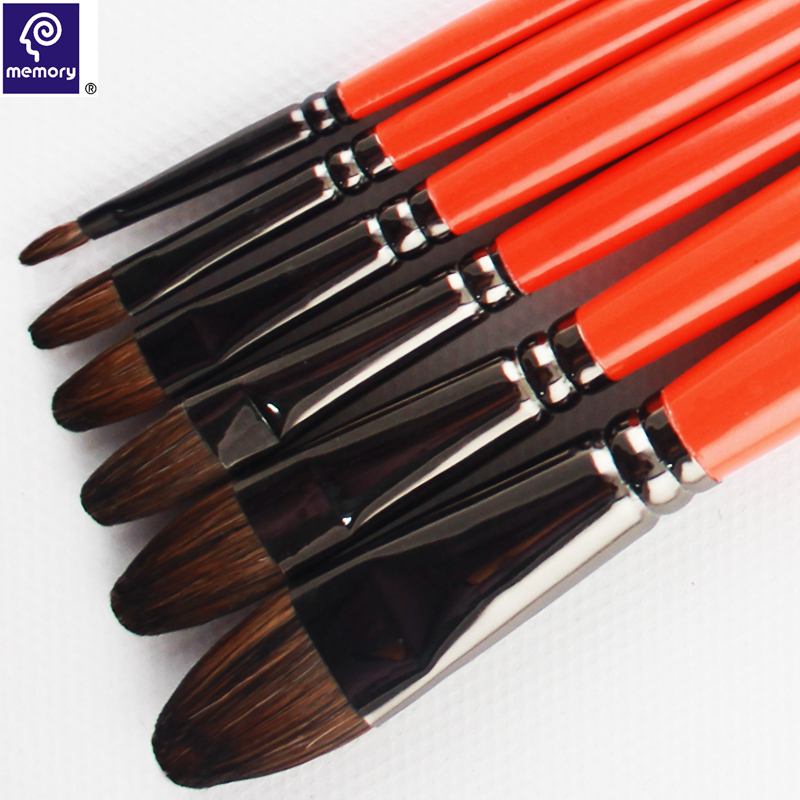 6Pcs Weasel's Hair Brushes Gouache Paint Brushes Watercolor Paintin Brushes Wooden Handle Painting Brushes(China (Mainland))