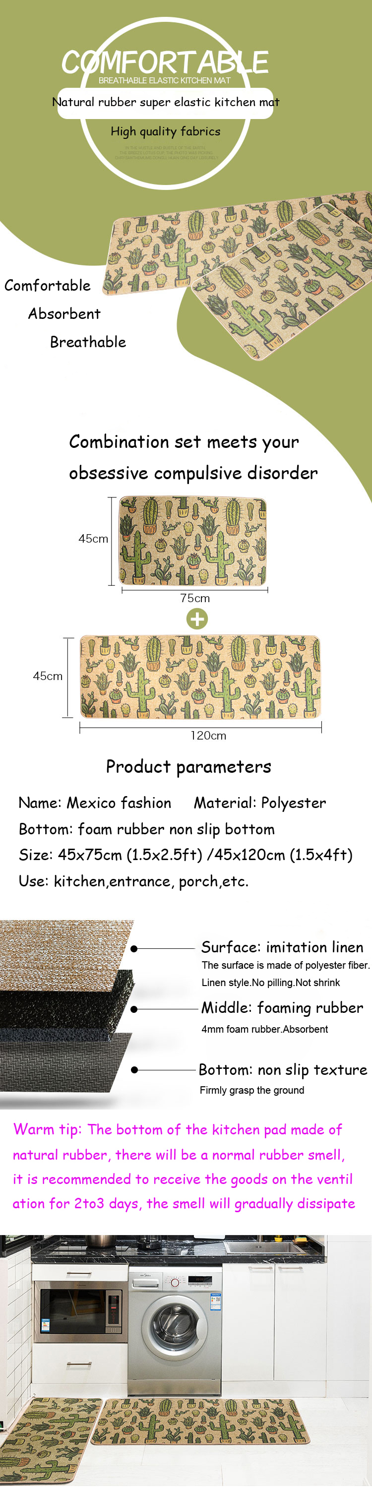 Natural rubber back cactus kitchen rug sets mat oil proof waterproof natural rubber back cactus kitchen rug sets mat oil proof waterproof anti pollution non skid imitation linen cloth design carpet us518 fandeluxe Choice Image