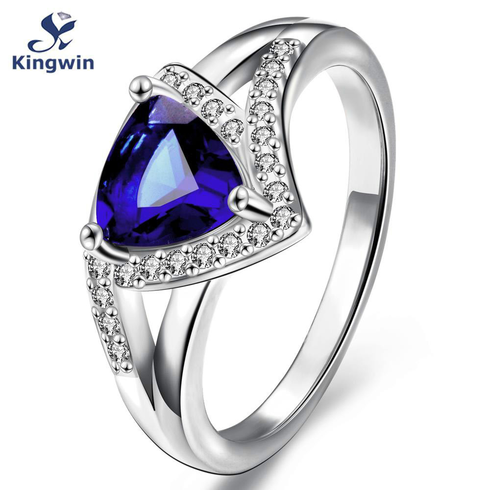 Italy sterling silver 925 wedding Navy blue rings synthetic sapphire color big stone from indian fashion jewelry for women(China (Mainland))