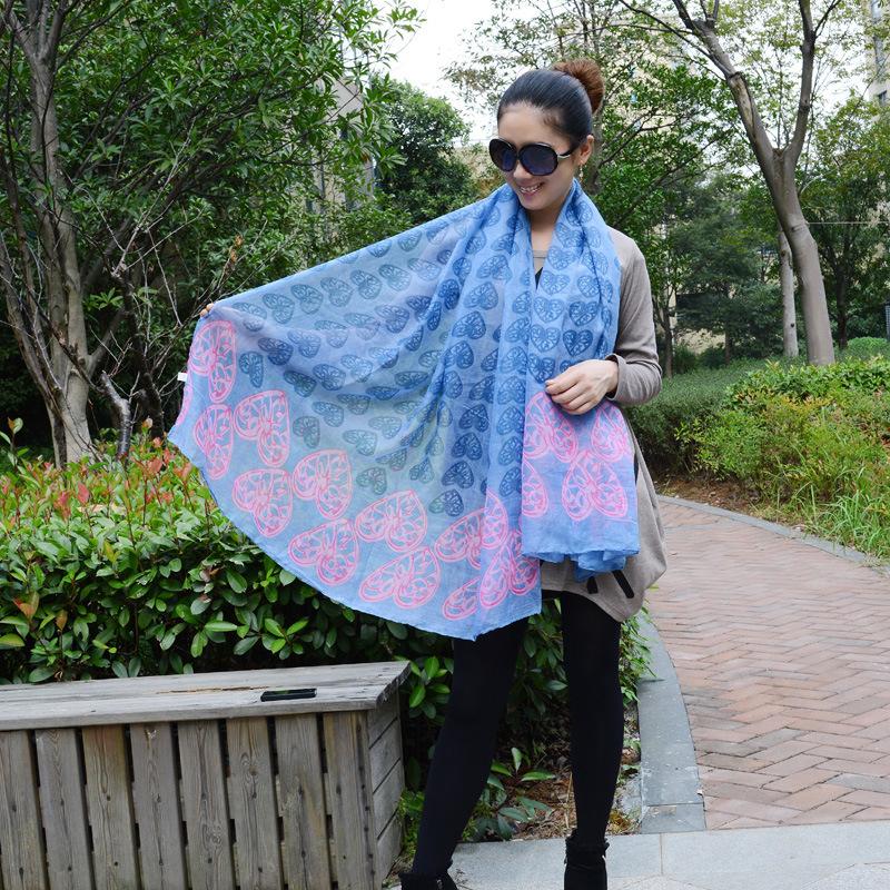 Sweet heart scarf Fashion sunshine beach scarf colorful Summer shawl soft lady scarves free shipping!!(China (Mainland))