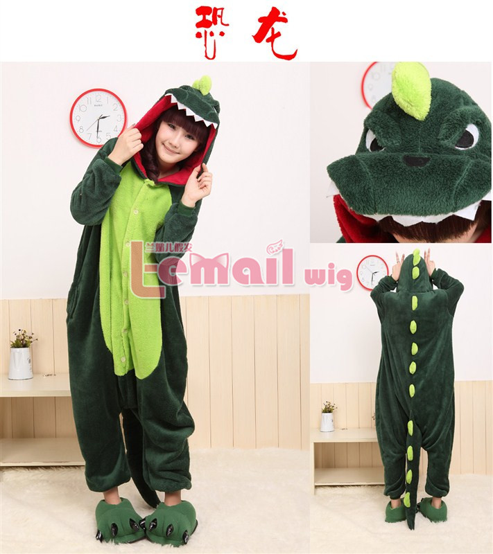 New Promotion Lovely Anime Green Dinosaur Cosplay Costume Japan Pajamas For Woman and woman Free Shipping(China (Mainland))