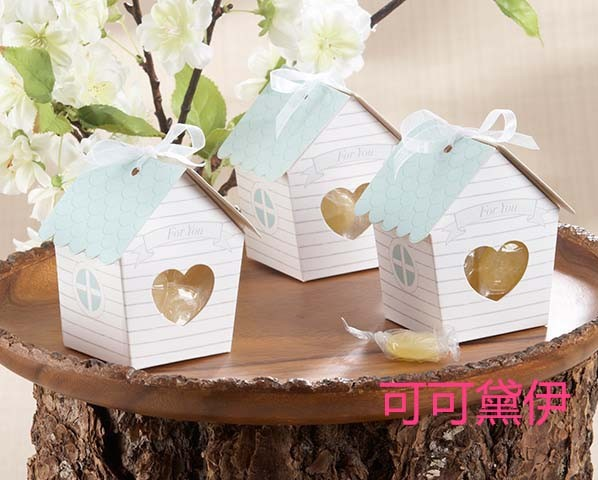 100pcs Wedding Favors Gift Boxes Ribbons,Elevators Included Super Cute Tiny Little House Favor Candy Boxes(China (Mainland))
