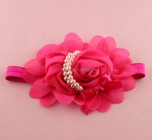 12 Colors 2015 New Arrival cute Baby Hair Band Headband Hair Accessories Pearl Rose Flower Headwear Stretchy(China (Mainland))
