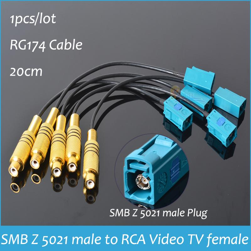 "Connector SMB male Plug to RCA Video TV female adapter SMB male to RCA femlale cable connector RG174 6"" pigtail Cable 20cm(China (Mainland))"