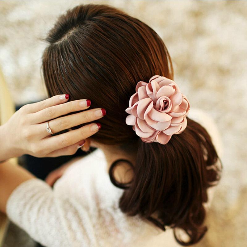 2015 Fashion Women Headdress Head Flower Hair Accessories Hair Elastic Bands Ring Hair Rope Cloth High Quality(China (Mainland))