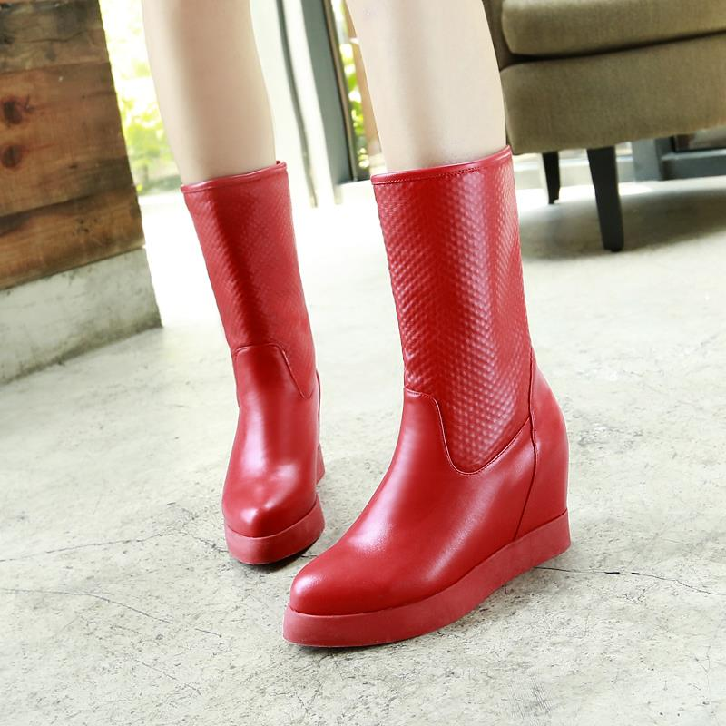2015 New Winter Autumn New Slip-On Mid-Calf Boots Women Solid Colors Height Increasing Pointed Toe Boots size 34-39 R1523<br><br>Aliexpress