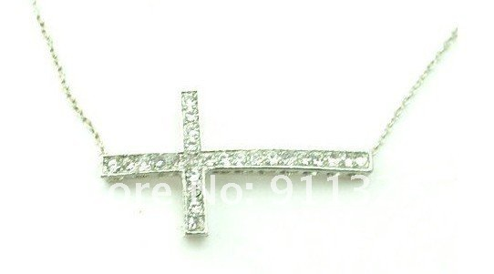 Free Shipping New  Sideways Side Ways Cross Necklace Fashion Silver Plated Cross With Chain Necklace(China (Mainland))