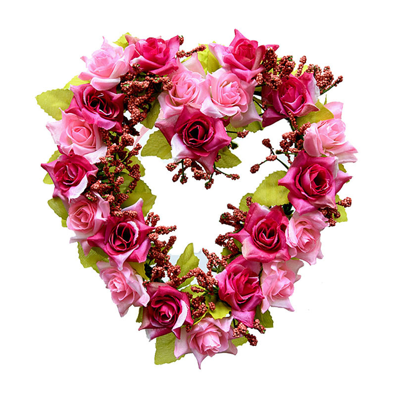 Heart Shaped Artificial Flower Wreath Door Decoration Hanging Wreaths Flowers Garland with Silk Ribbon for Home Door Decoration (2)