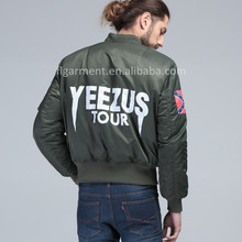 PLUS SIZE KANYE WEST YEEZUS tour MA1 pilot jackets limit edition black green colors yeezy flight parkas BOMBER MA-1 Men Winter(China (Mainland))