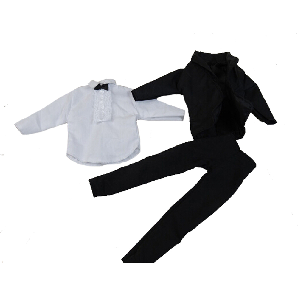 1 units handmade garments black bride go well with with white shirt and pants for barbie boy firend for barbie doll ken
