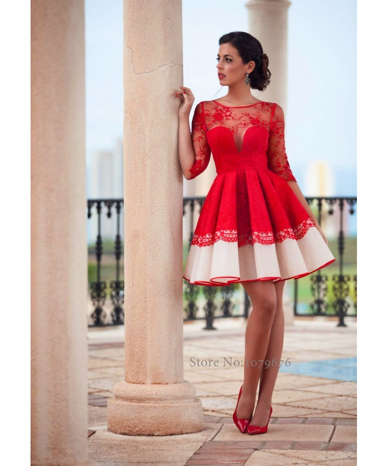 Transparent 2016 red short cocktail dress party dresses for Cocktail dress with sleeves for wedding
