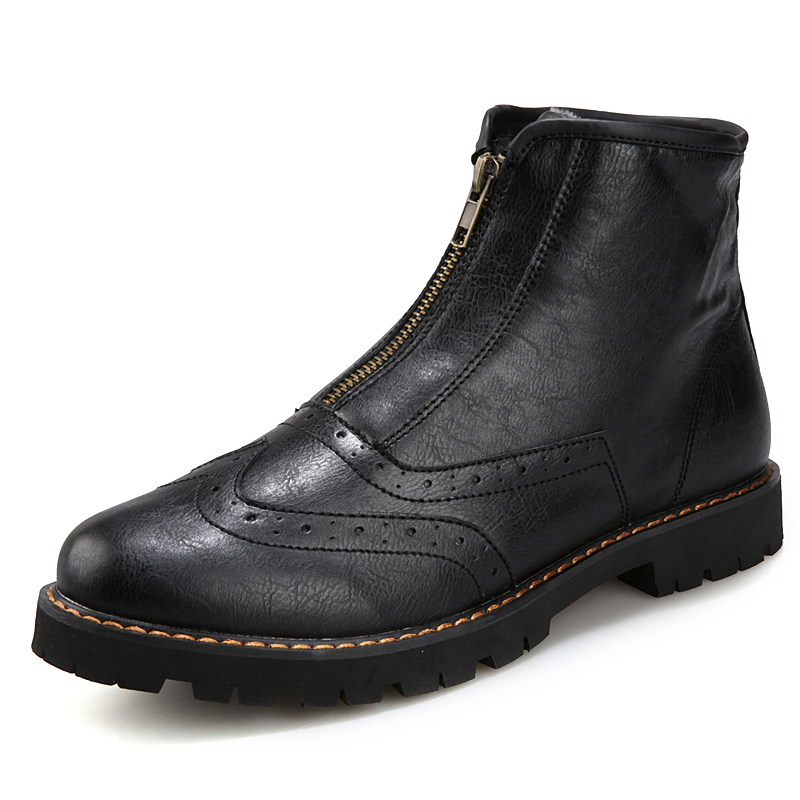 Здесь можно купить  Men Ankle Leather Boots High Top Bullock Style Casual Boots With Zippers Winter Waterproof Boots Slip On Lazy Shoes For Mens  Обувь
