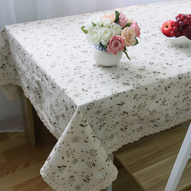 2016 special offer Pastoral style modern floral cotton woven plain dyed square table cloth for home and outdoor(China (Mainland))