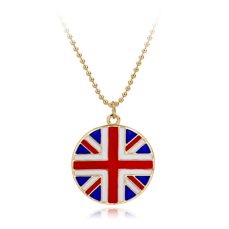 Silver Long Beads Chain Necklace Old London Jewelry Glass Cabochon 1Pcs US UK Round Flag Pendant Steampunk Necklace Sne150878117(China (Mainland))