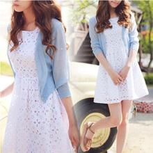 Silk and hemp seven short sleeved cardigan sweater cardigan short thin women summer sun protection clothing air conditioning(China (Mainland))