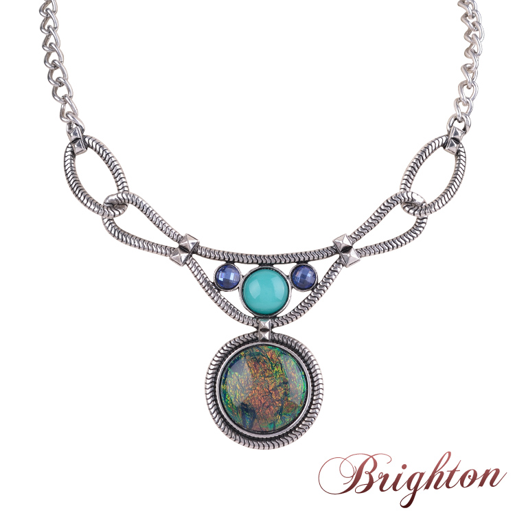 Fashion Women Accessories Elegant Round Shaped Simulated Gemstone Pendant Charm Sliver Plated Pendant Necklaces 2015 Bijoux(China (Mainland))