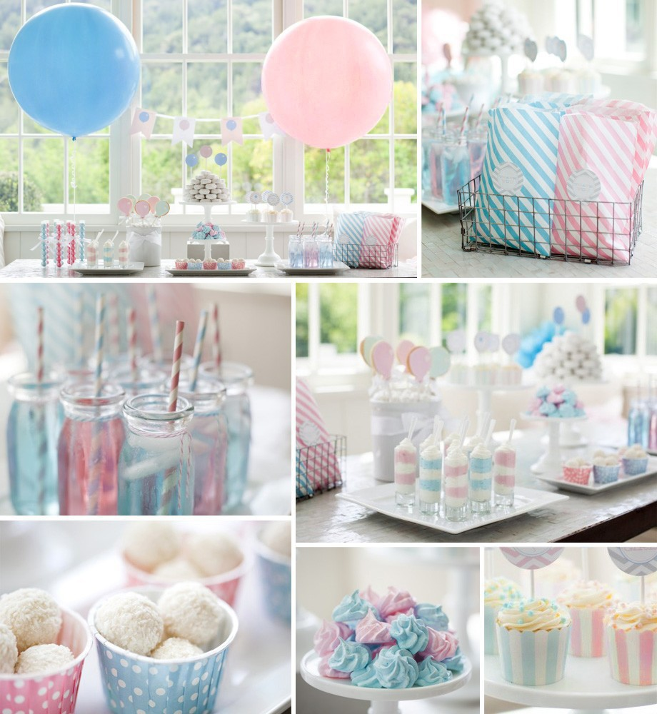 Baby pink baby blue party supplies set for kids prince for Baby birthday decoration images
