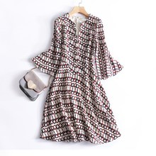 Silk dress is natural silk Geometric pattern print womens zomer jurken 2017 zomer ladies fashion ropa mujer vestidos verano(China (Mainland))
