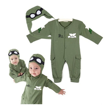 The Pilot Pure Cotton Baby Romper High Quality Thin Army Green With Hood Newborn Jumpsuit Infant