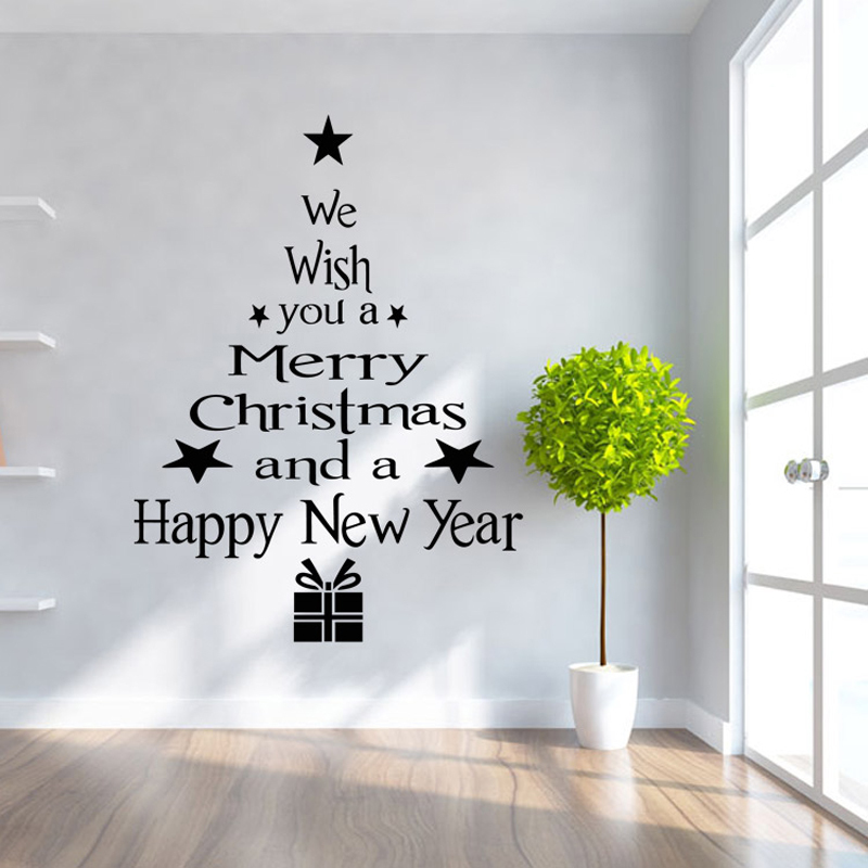 Removable Wall Art 28+ [ christmas wall art stickers ] | christmas tree snowflakes