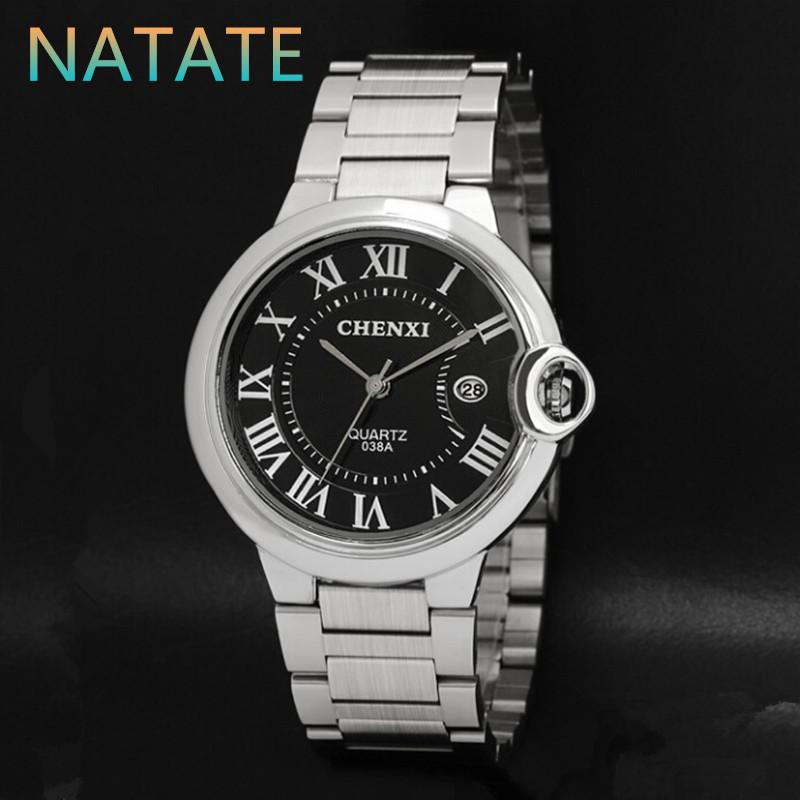 NATATE CHENXI Luxury Brand Business Watches Men Watch Slim Quartz Stainless steel The calendar Watch 2 Colors 1240