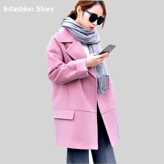 Женщины Куртка Осень Зима 2016 Новый Негабаритных Проложенный Теплое Пальто Женщины Имитация Кашемировые Пальто розовый желтый серый