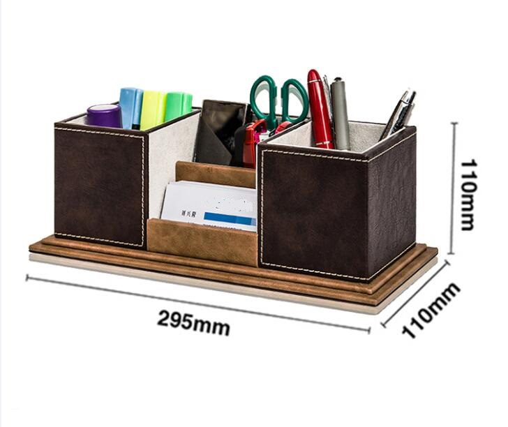 Leather multi function desk stationery organizer storage - Desk stationery organizer ...