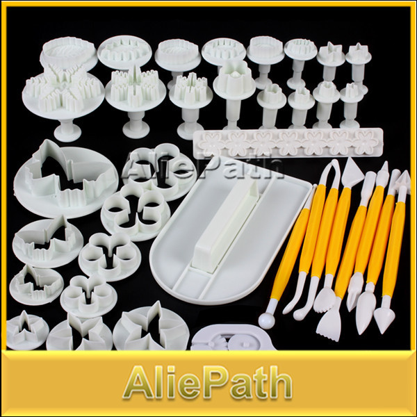 2014 New 12 Sets 37pcs Fondant Cake Cookie Sugar Craft Decorating Plunger Cutters Tools(China (Mainland))