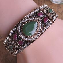 Luxury Turkish Vintage Fine Jewelry Woman Bracelets Bangles Pulseiras Femininas Antique Gold Crystal Charm Bracelet Bijoux Femme(China (Mainland))