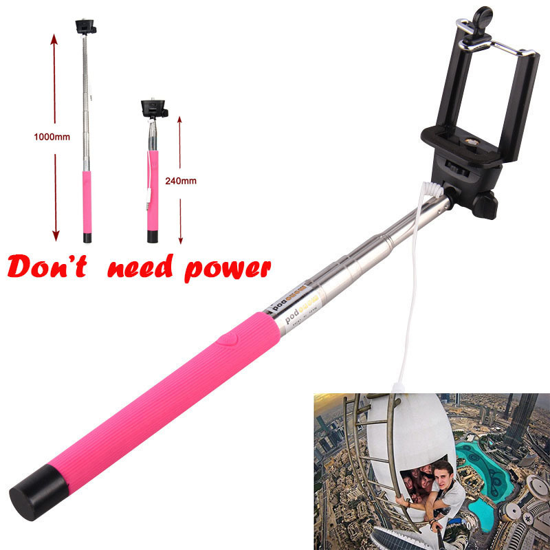 hot sale palo monopod audio cable wired pau de selfie stick to self universal handheld. Black Bedroom Furniture Sets. Home Design Ideas