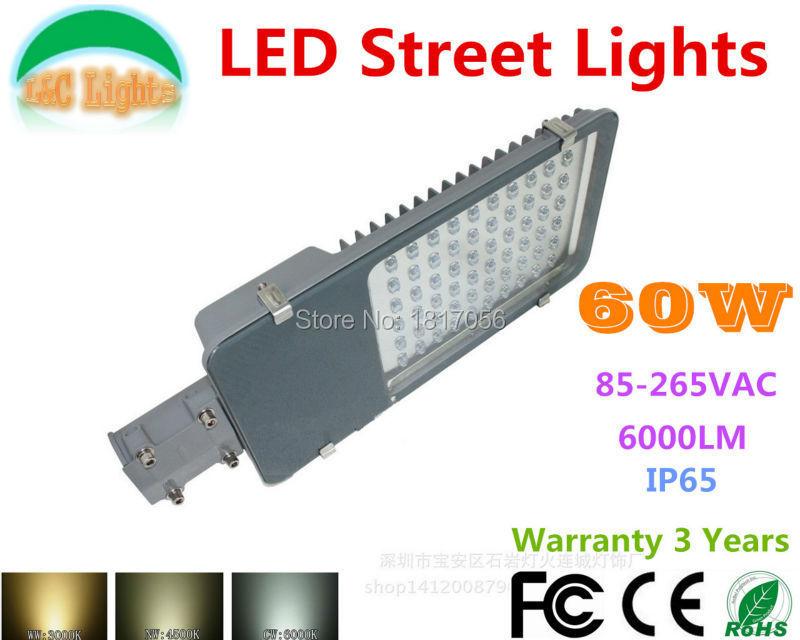 Hot Sale 110V 220V 60W 6000LM LED Street lights LED Road light Warranty 3 Years LED Garden lamp CE RoHS IP65 Outdoor Lighting(China (Mainland))