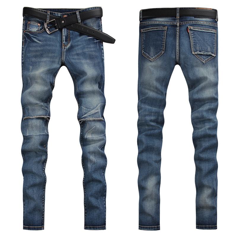 2015 fashion light blue denim pants men jeans patchwork