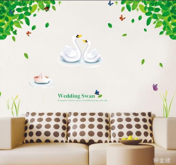 Ay880 Cute Wedding Swan Tree Home Decor Wall Stickers