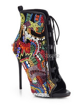 Peep toe lace up rhinestone ankle boots,thin high heels colorful crystal covered bootie sandals(China (Mainland))