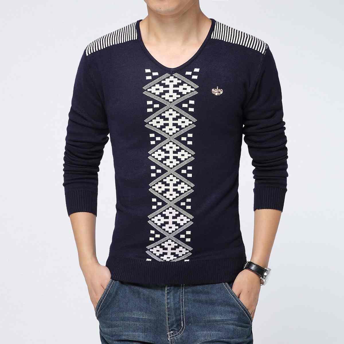 New mens cotton sweater crewneck Jacquard men menswear(China (Mainland))