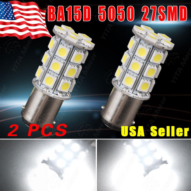 Hot Selling LED Car Light Super Bright Xenon White 12V 6000K BA15D 27SMD 5050 LED Lights Bulbs RV Camper Car Light Source(China (Mainland))