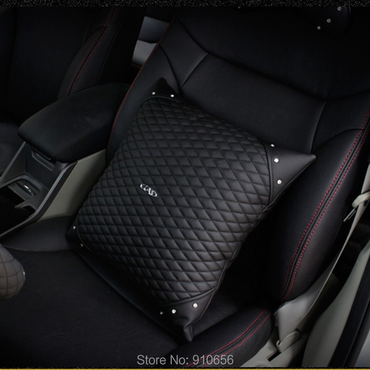 1pair 2014 New High quality Auto DAD rhinestone cute car seat covers black lumbar support leather soft seat cover free shipping<br><br>Aliexpress