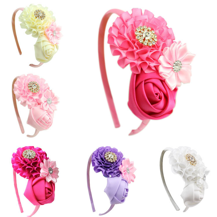 1 pieces new Baby Girl Ruffles pink Flower Hairband kids Headband Girl's Hair Accessories children accessories(China (Mainland))
