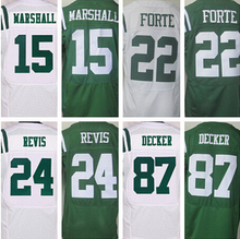 Mens 15 Brandon Marshall 22 Matt Forte 24 Darrelle Revis 87 Eric Decker jersey, White,Green,Size M-XXXL(China (Mainland))