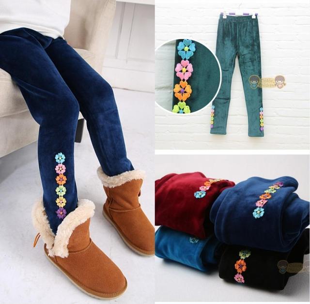 Дети девочки плотные брюки, Дети девочка зима вилли шерсть тёплый брюки, 5 цветов брюки