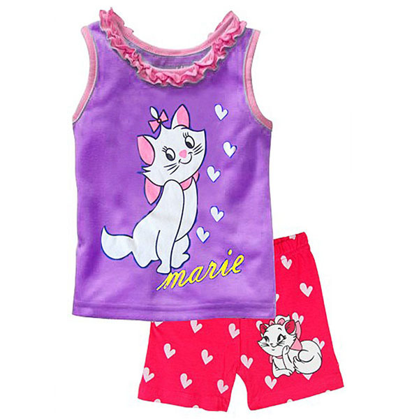 New Girl Minnie Pijamas Sets Kids Clothes Girls Cartoon Cat Marie T-Shirt and Shorts Pajamas Suit Toddler Girls Clothing CF223(China (Mainland))