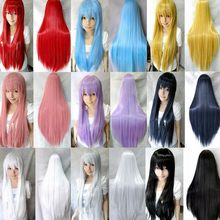 9 colors women heat resistant Pink  Black Blue Red Yellow white Blonde Purple straight cosplay wigs 80cm(China (Mainland))