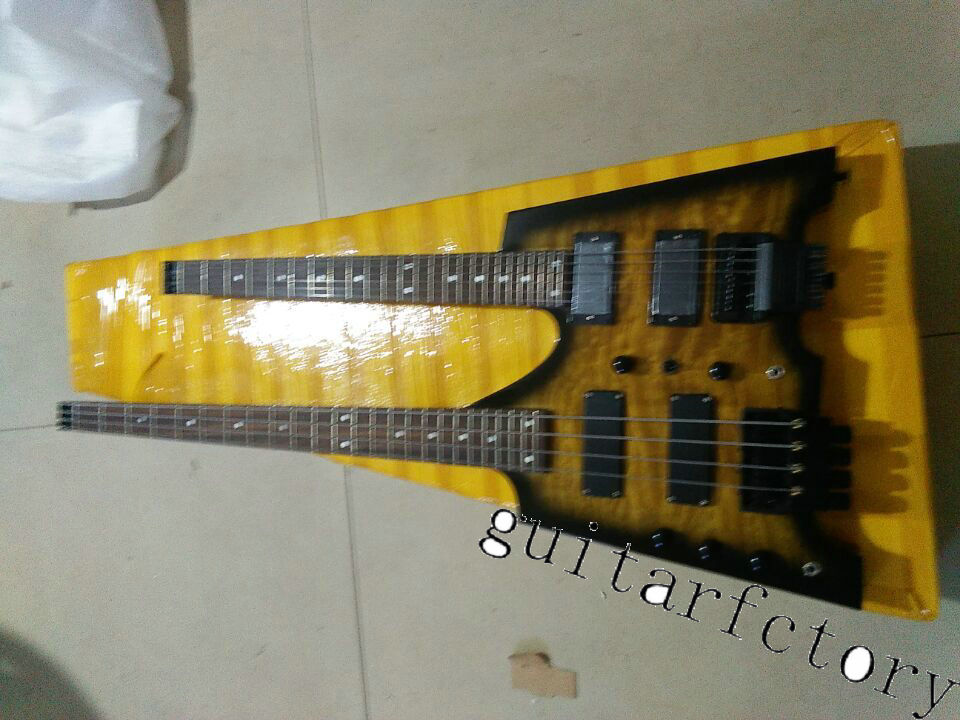 custom shop sunburst Headless guitar Double Neck 4 string bass 6 string Electric Guitar headless double neck guitar(China (Mainland))