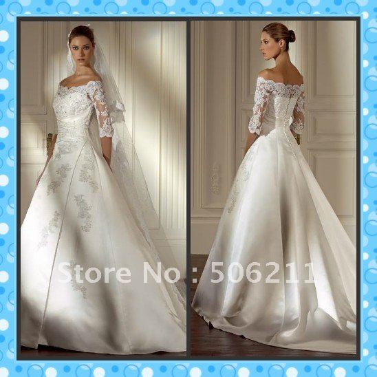 Stunning A Line Off The Shoulder Long Sleeves Appliqued Satin Wedding Bridal