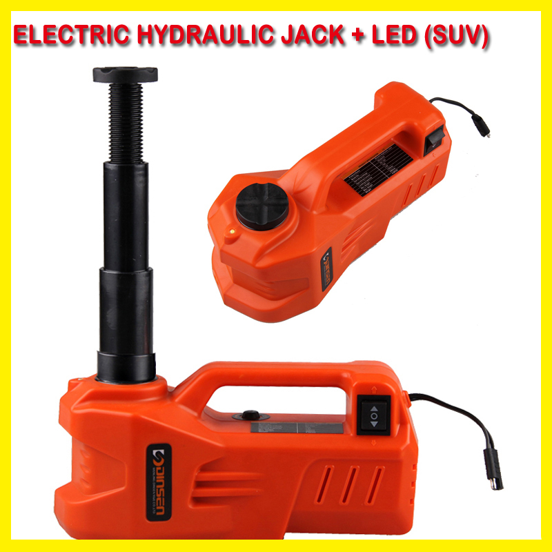 12V high quality horizontal type Electric hydraulic jack with LED flash light the max load is 3T for SUV use(China (Mainland))